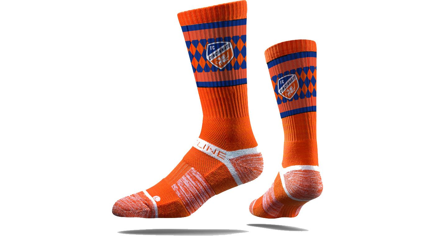 Strideline FC Cincinnati Orange Checkered Crew Socks