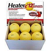 Heater 12'' Yellow Dimpled Pitching Machine Softballs - 12 Pack