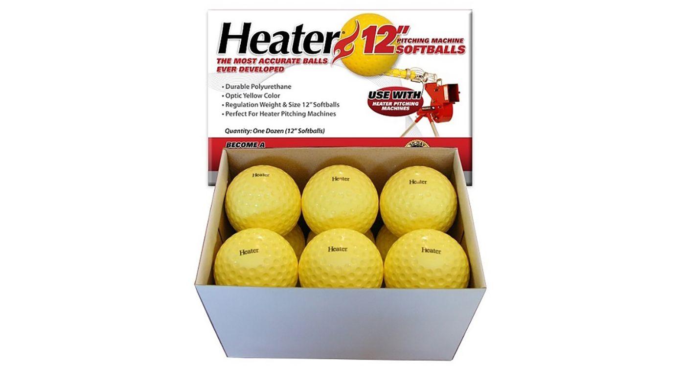 Heater 12'' Yellow Dimpled Pitching Machine Softballs - 12 Pack