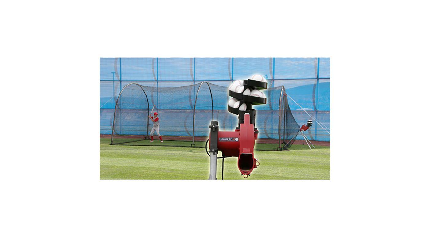 Heater Junior Baseball Pitching Machine & Xtender 24' Batting Cage