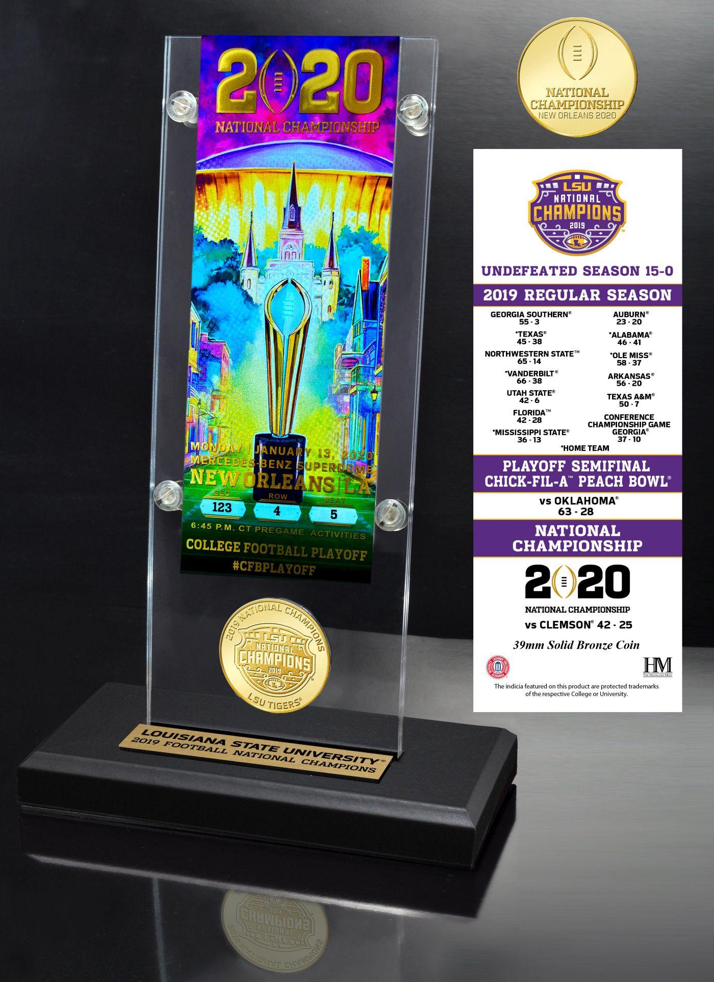 Highland Mint 2019 National Champions LSU Tigers Acrylic Ticket Holder