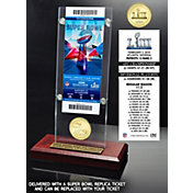 Highland Mint Super Bowl LIII Champions New England Patriots Bronze Coin and Ticket Desktop Acrylic Display