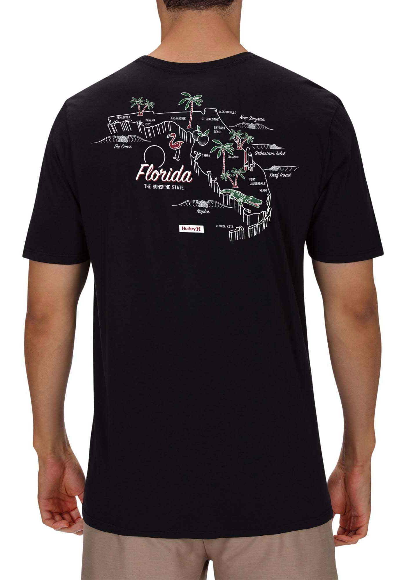 Hurley Men's Florida 3D Maps Premium Short Sleeve T-Shirt