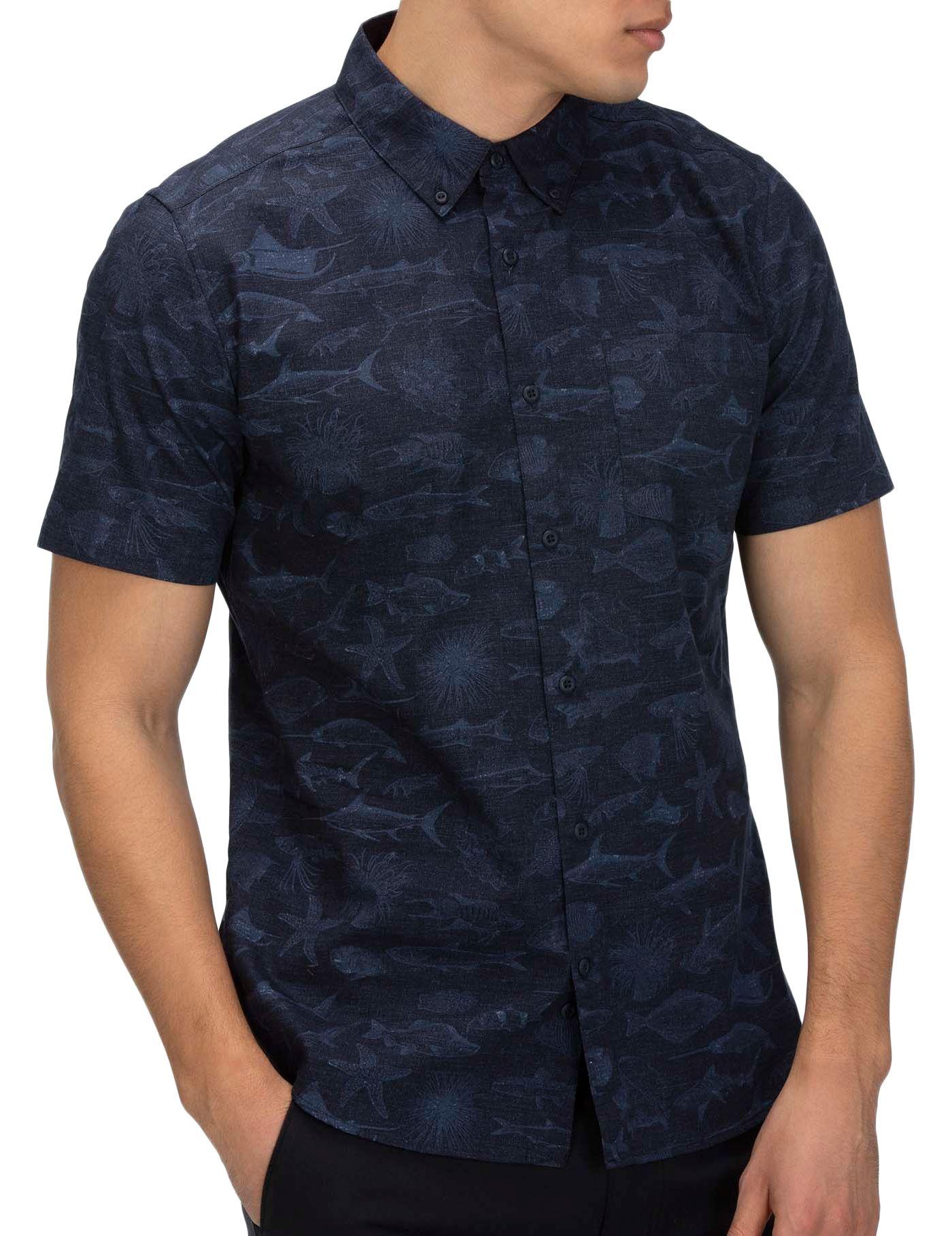 Hurley Men's Gone Fishin Short Sleeve Button Down Shirt