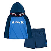 Hurley Little Boys' Shark Bite Hoodie and Swim Trunks Set