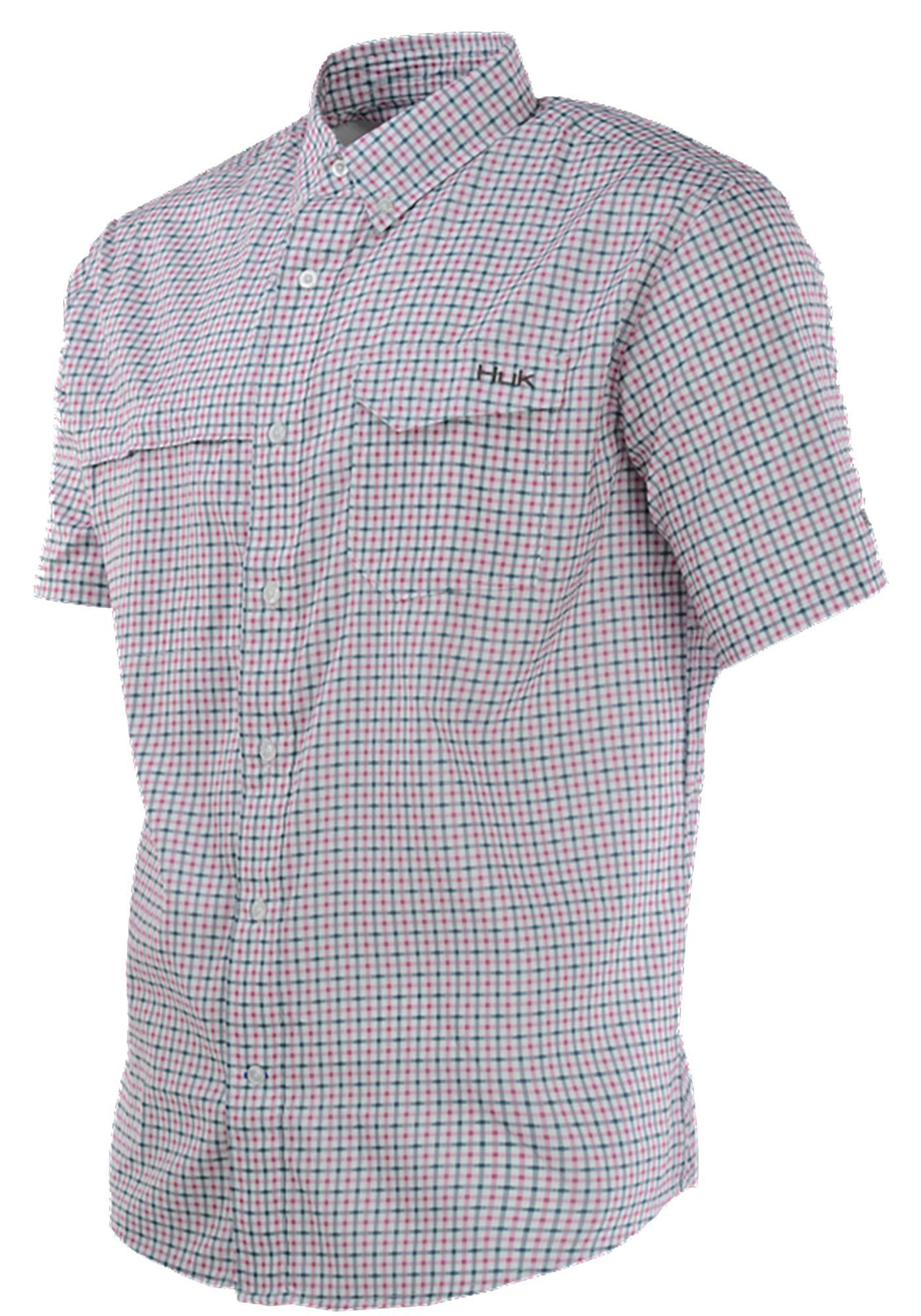 HUK Men's Tide Point Woven Plaid Button Down Short Sleeve Shirt