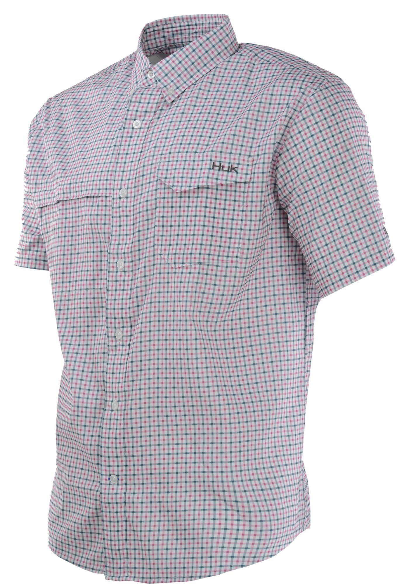 Huk Men's Tide Point Woven Plaid Short Sleeve Button Down Shirt