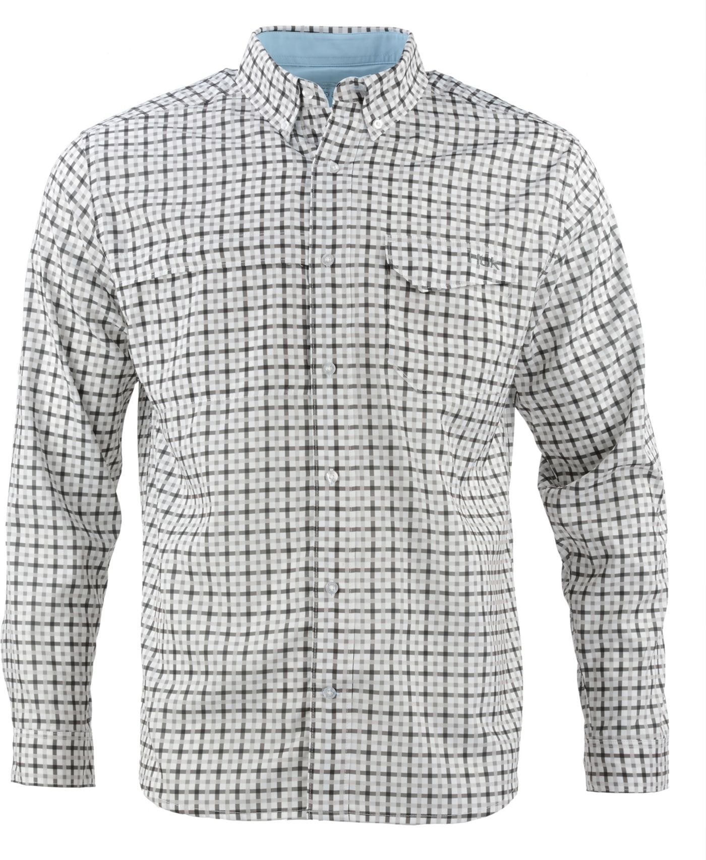 HUK Men's Tide Point Woven Plaid Button Down Long Sleeve Shirt