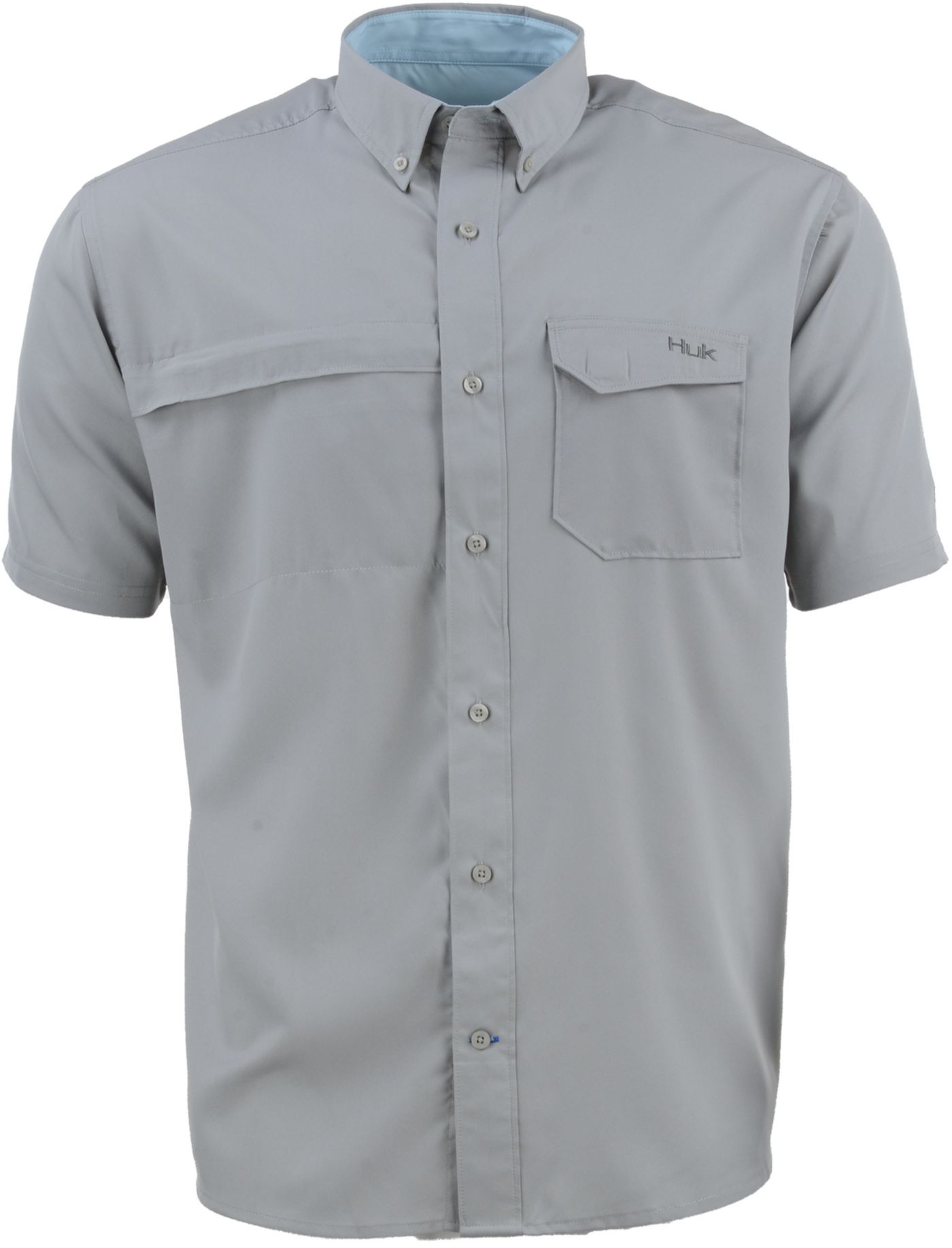 HUK Men's Tide Point Woven Solid Button Down Short Sleeve Shirt