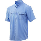 Huk Men's Tide Point Woven Solid Short Sleeve Button Down Shirt