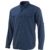 Huk Men's Tide Point Woven Solid Long Sleeve Button Down Shirt