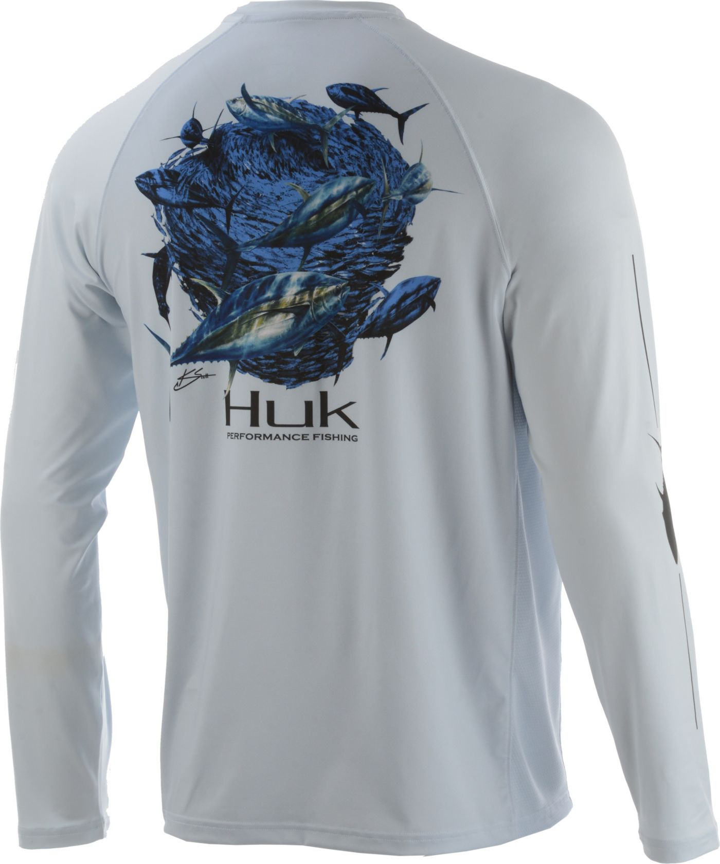 Huk Men's Pursuit Tuna Baitball Long Sleeve UPF Performance Shirt