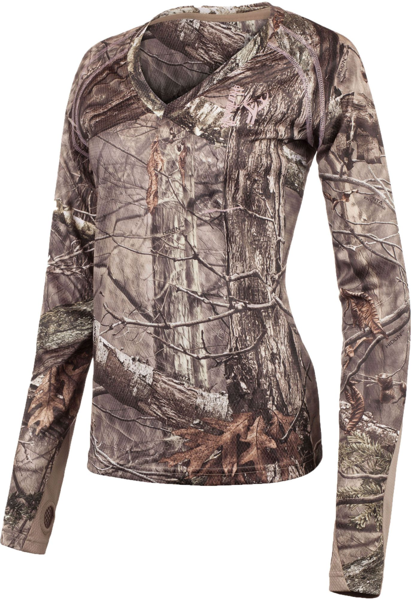 Huntworth Women's Terry Knit 1/4 Zip Long Sleeve Shirt, Size: Small, Hidd N Camo thumbnail