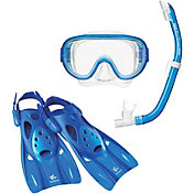 Reef Tourer Adult Single-Window Mask, Snorkel and Fin Traveling Set