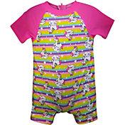 Sol Swim Little Girls' Unicorn Short Sleeve Rash Guard One Piece Swimsuit