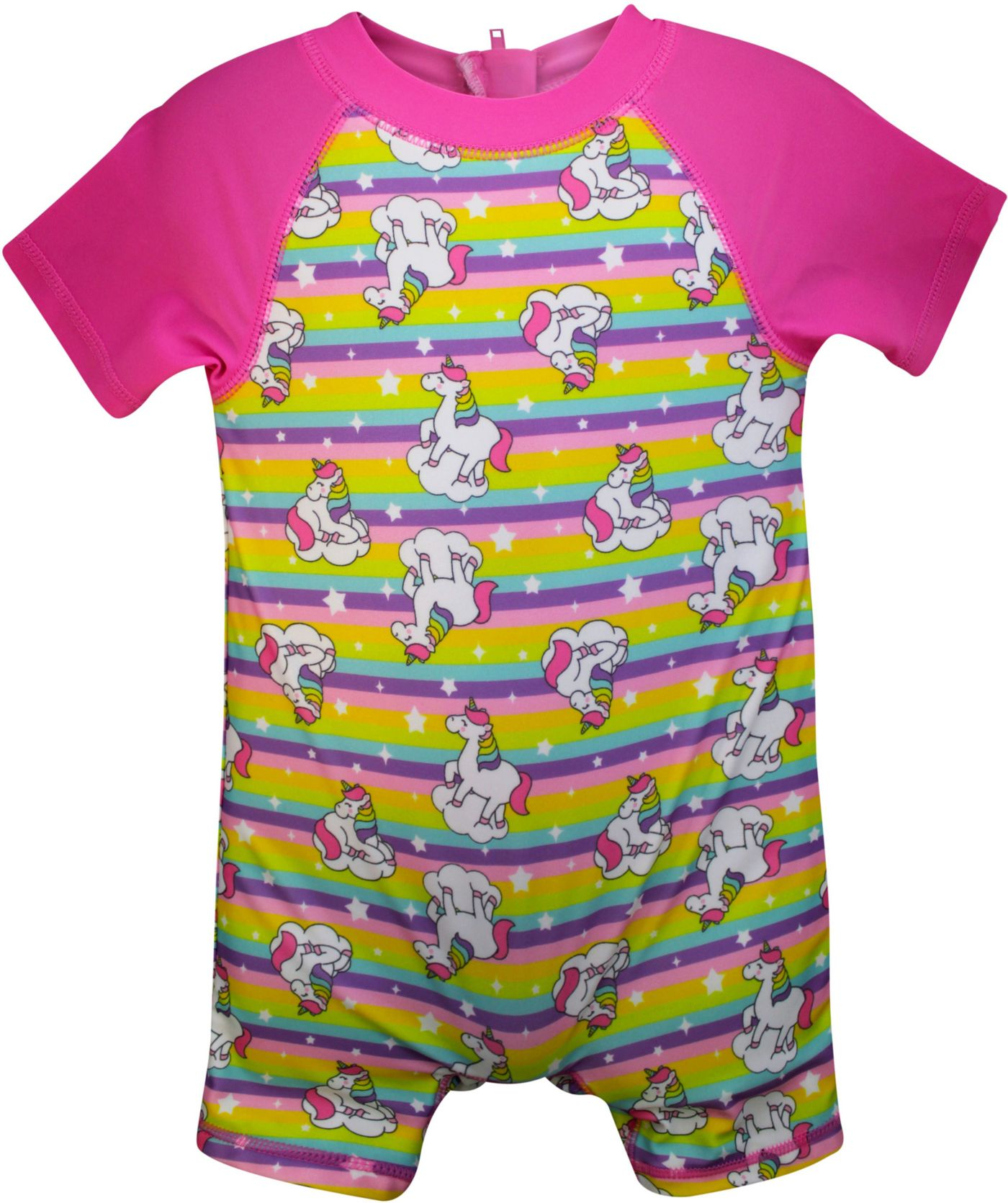 Sol Swim Little Girls' Unicorn Short Sleeve Rash Guard One Piece Swimsuit