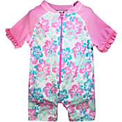 Sol Swim Little Girls' Floral Short Sleeve Rash Guard One Piece Swimsuit