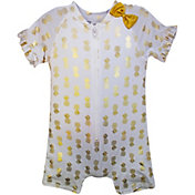 Sol Swim Little Girls' Gold Pineapple Short Sleeve Rash Guard One Piece Swimsuit