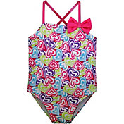 Sol Swim Little Girl's Printed Hearts Crossback One Piece Swimsuit
