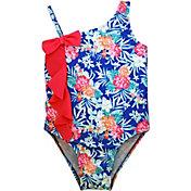 Sol Swim Little Girls' Blue Floral One Piece Swimsuit
