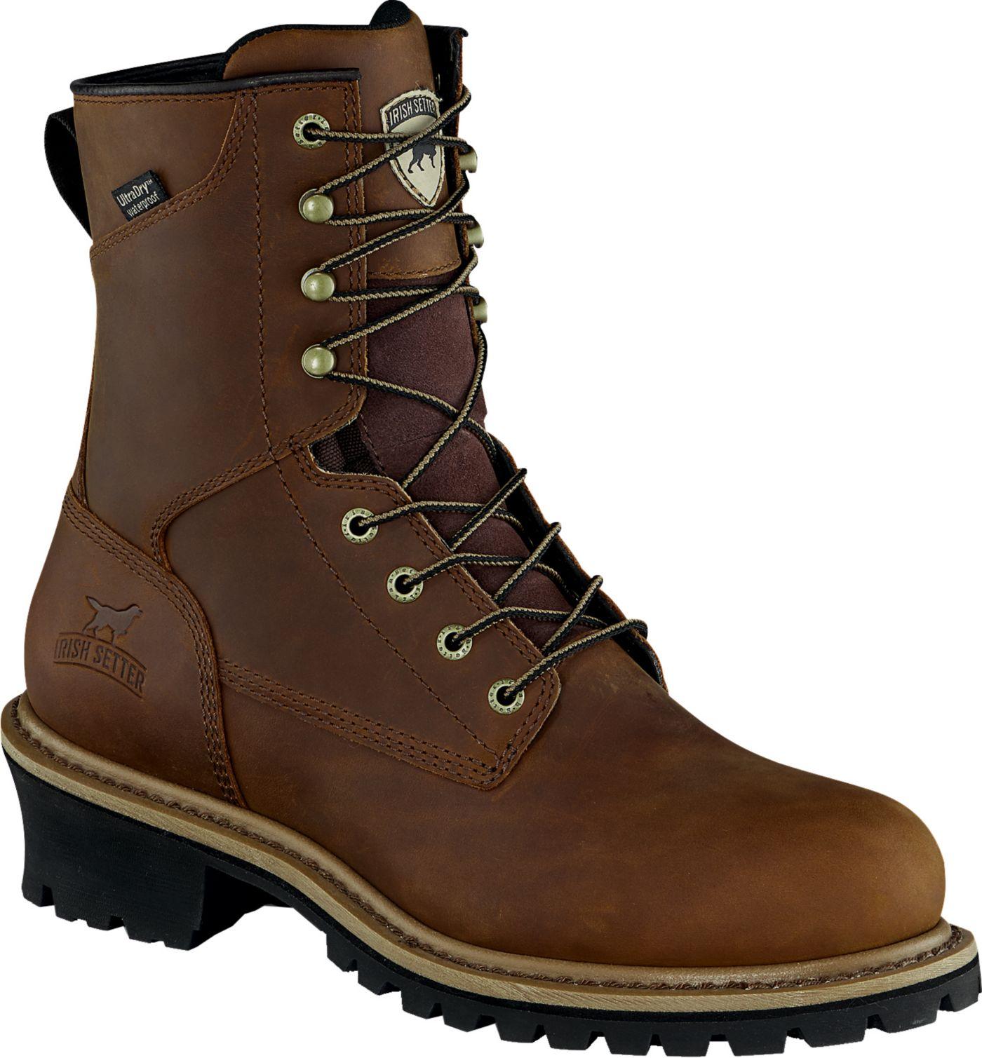 Irish Setter Men's Mesabi Logger 8'' Waterproof Steel Toe Work Boots