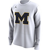 Jordan Men's Michigan Wolverines Bench Long Sleeve White T-Shirt