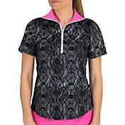 Jofit Women's Foldover Mock Short Sleeve Golf Polo