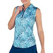 Jofit Women's Printed Sleeveless Golf Polo