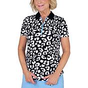 Jofit Women's Printed Rib Short Sleeve Golf Polo