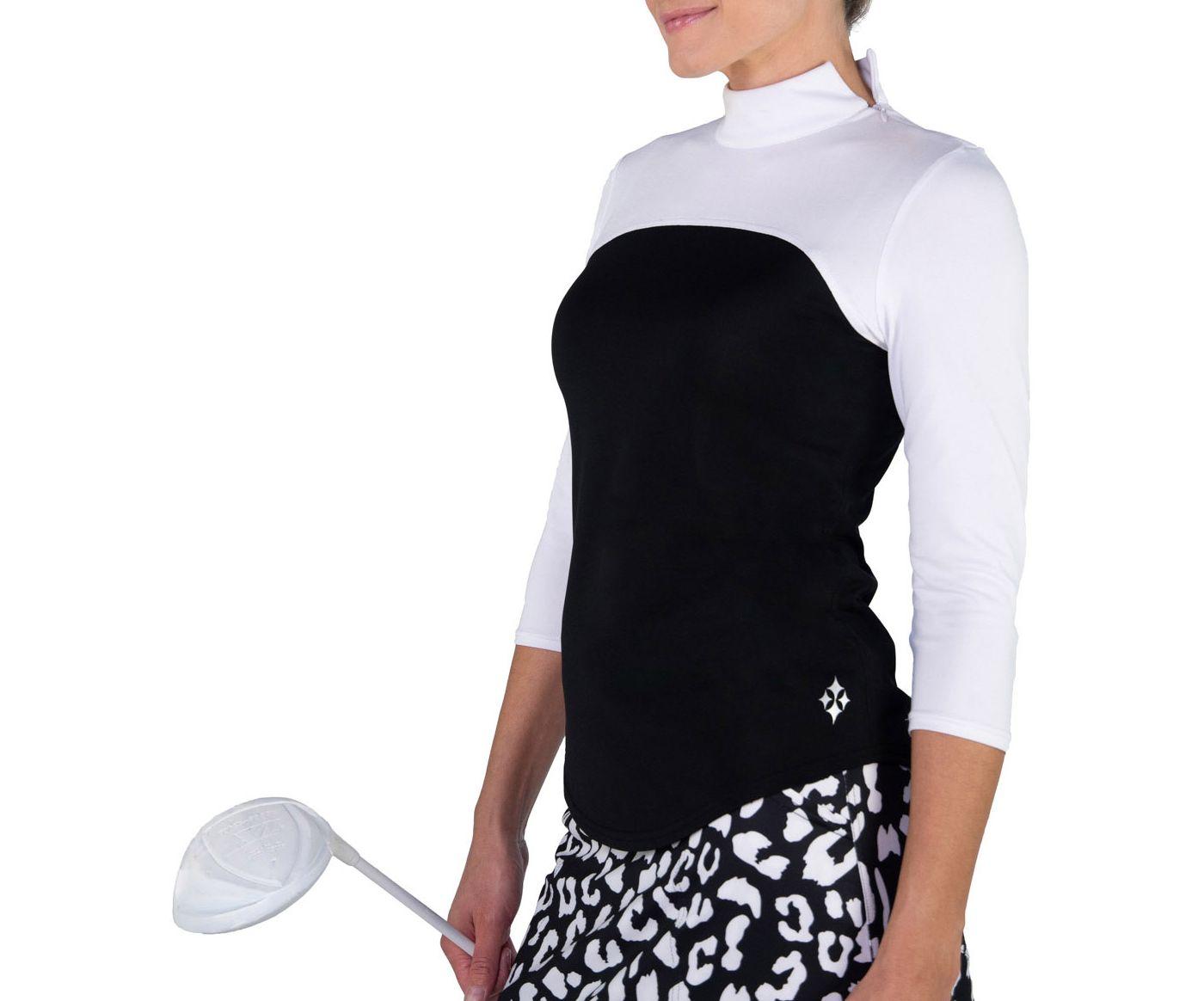 Jofit Women's Colorblock Mock Neck ¾ Sleeve Golf Top