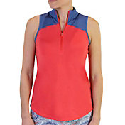 Jofit Women's Zip Cutaway Mock Sleeveless Golf Polo
