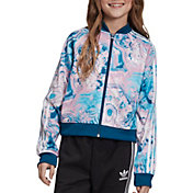 adidas Originals Girls' Marble Cropped Superstar Track Jacket in Multi