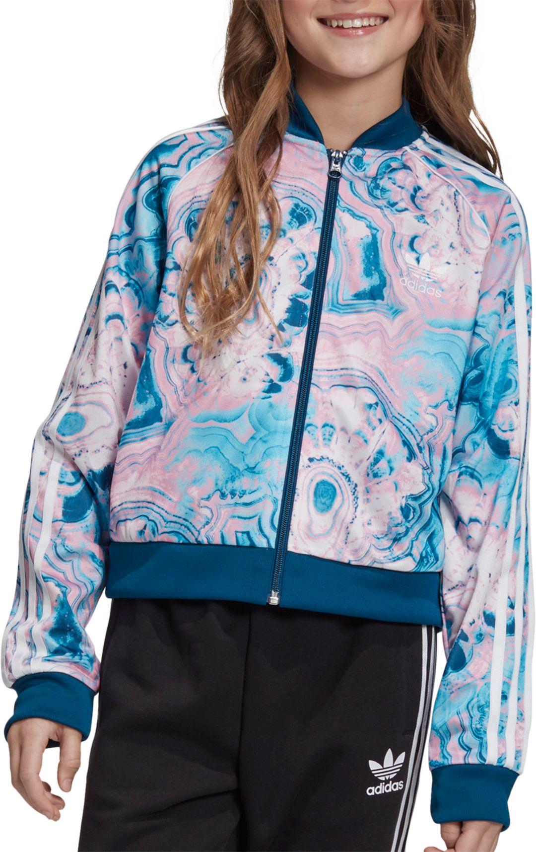 adidas Originals Girls' Marble Cropped Superstar Track Jacket