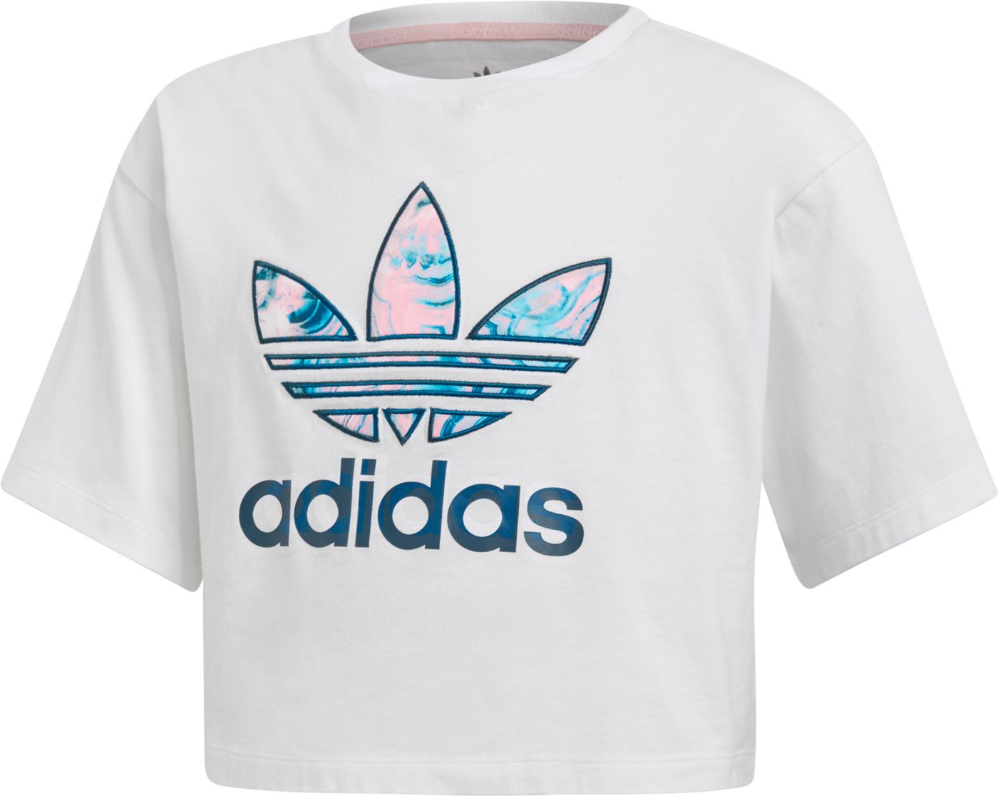 adidas Originals Girls' Marble Trefoil Cropped T-Shirt