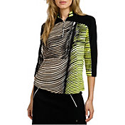 Jamie Sadock Women's Wave Print ¾ Sleeve Golf Top