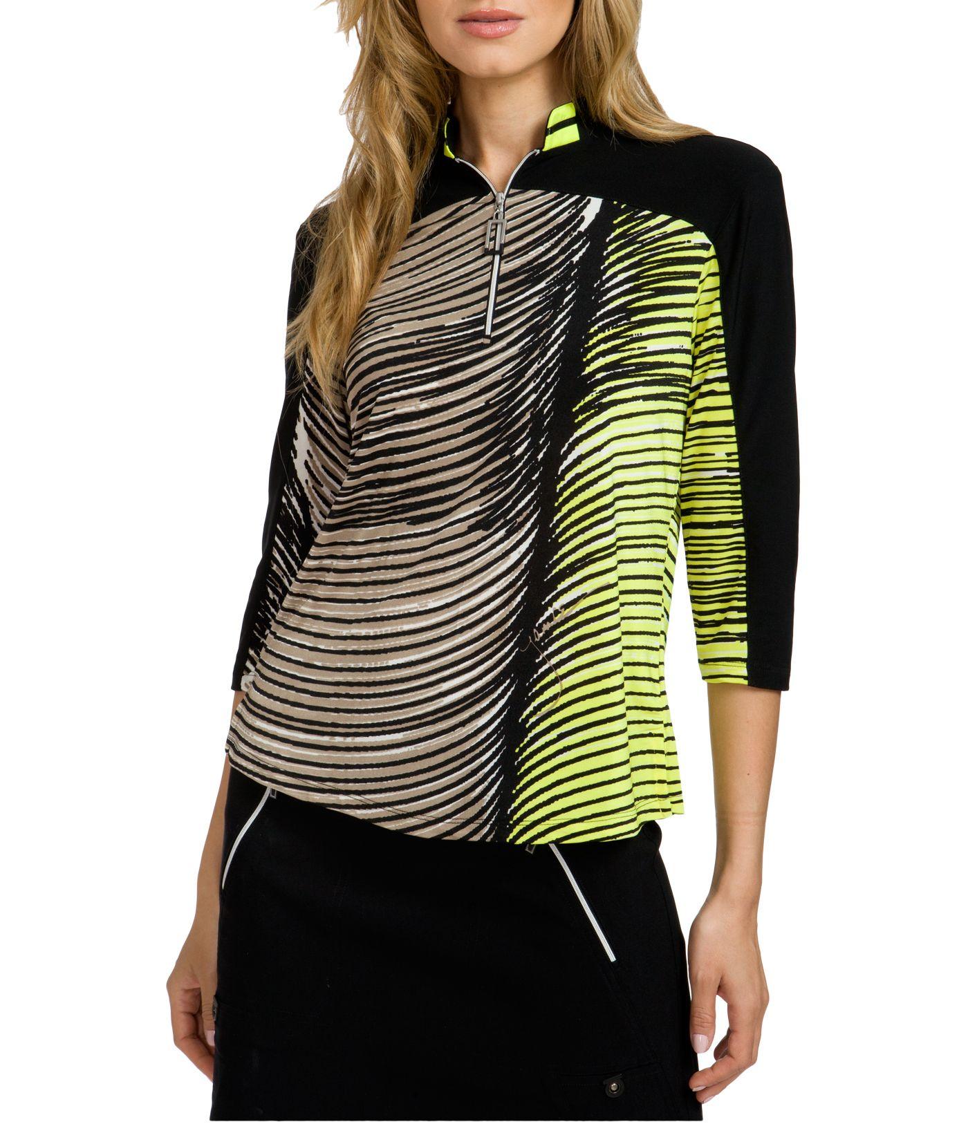 Jamie Sadock Women's Wave Print ¾ Sleeve Golf Top
