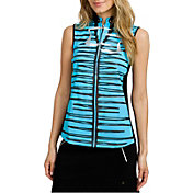 Jamie Sadock Women's Horizontal Linear Print Mock Neck Golf Polo