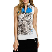 Jamie Sadock Women's Paw Print Wavy Mock Neck Golf Polo