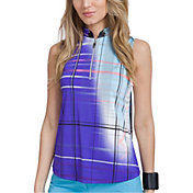 Jamie Sadock Women's Plaid Sleeveless Golf Polo