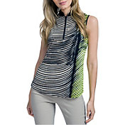 Jamie Sadock Women's Wave Print Mock Neck Golf Polo