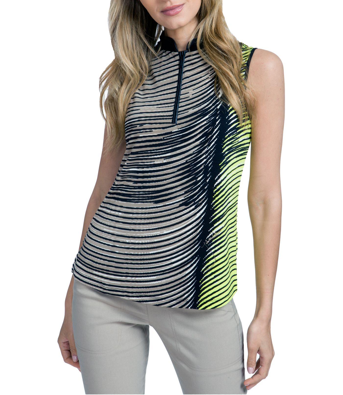 Jamie Sadock Women's Wave Print Mock Neck Golf Polo
