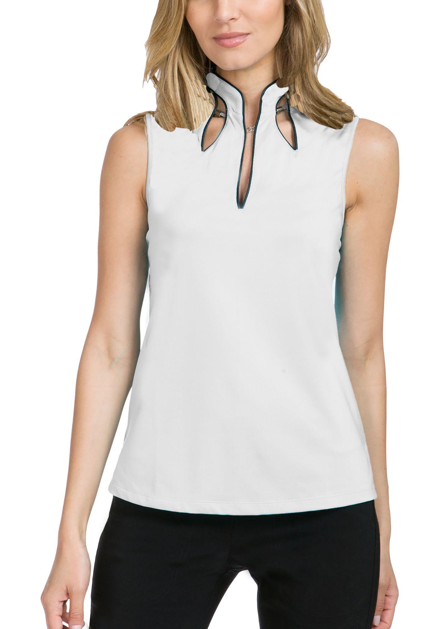 Jamie Sadock Women's Solid Cutout Sleeveless Golf Polo