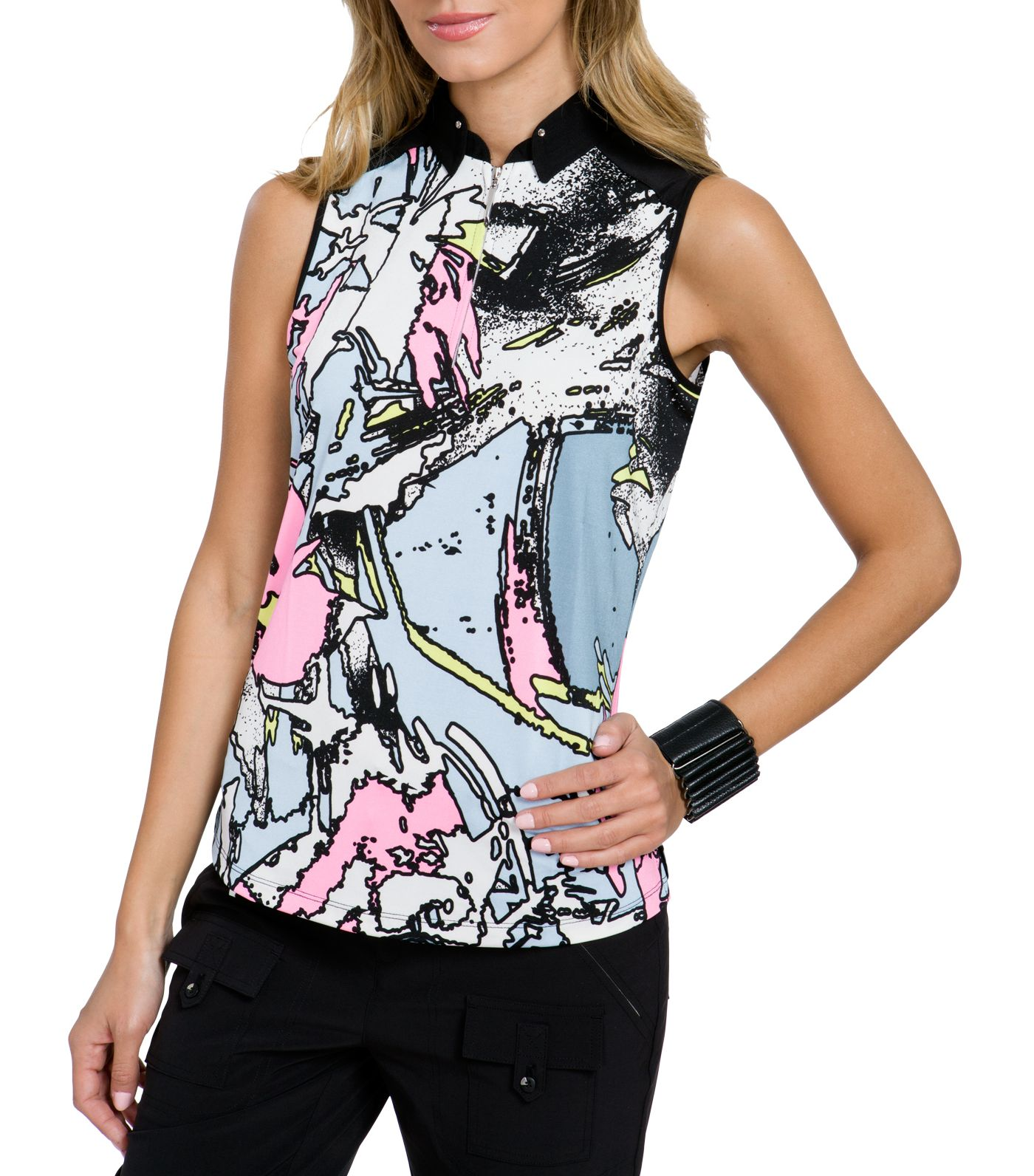 Jamie Sadock Women's Tsunami Print Sleeveless Golf Top