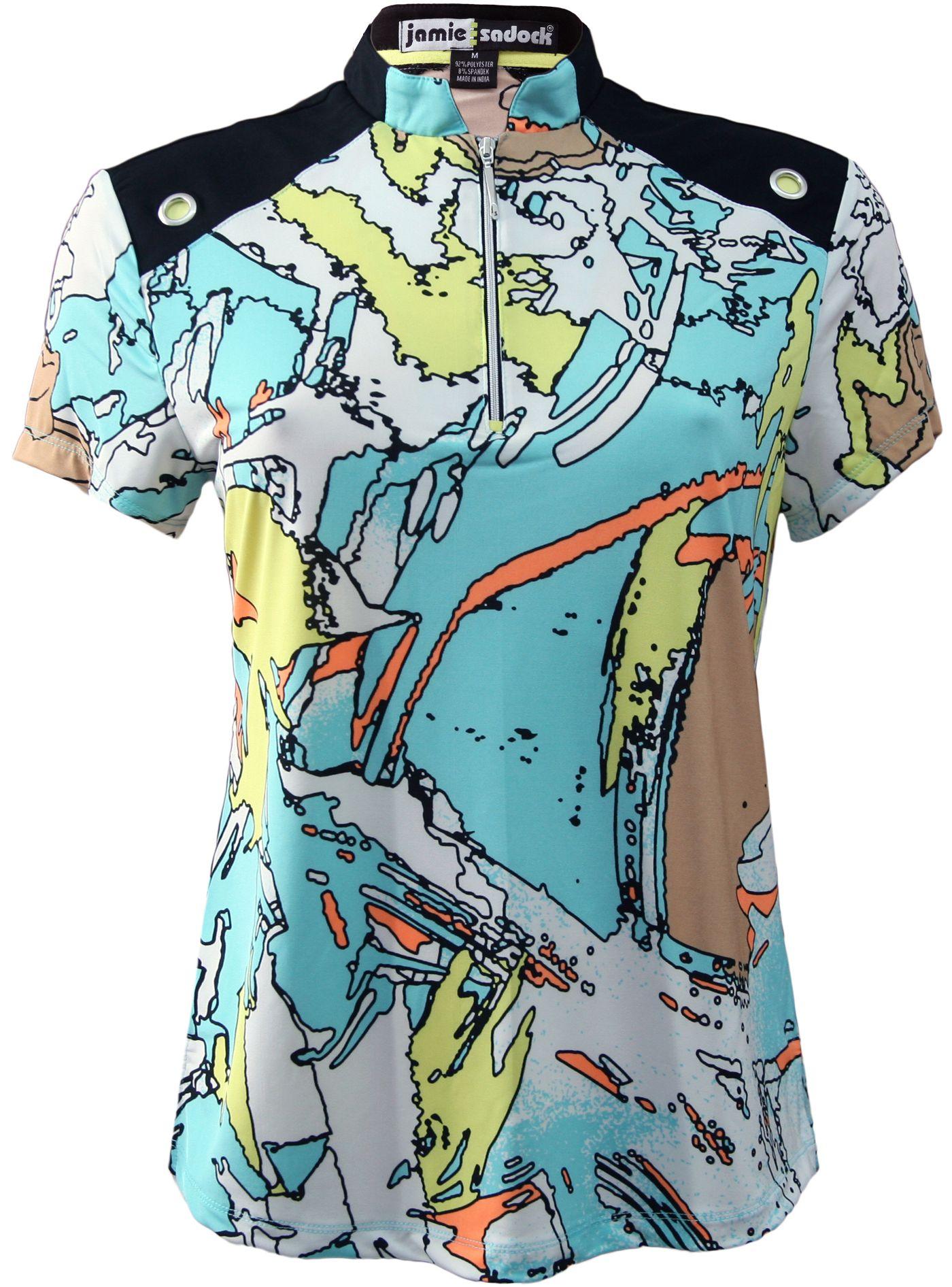 Jamie Sadock Women's Tsuanmi Print Short Sleeve Golf Top