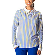 SwingDish Women's Stripe Boyfriend ¼-Zip Golf Pullover
