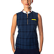 SwingDish Women's Polly Plaid Sleeveless Golf Polo