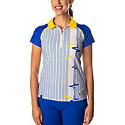 SwingDish Women's Grace Striped Short Sleeve Golf Polo