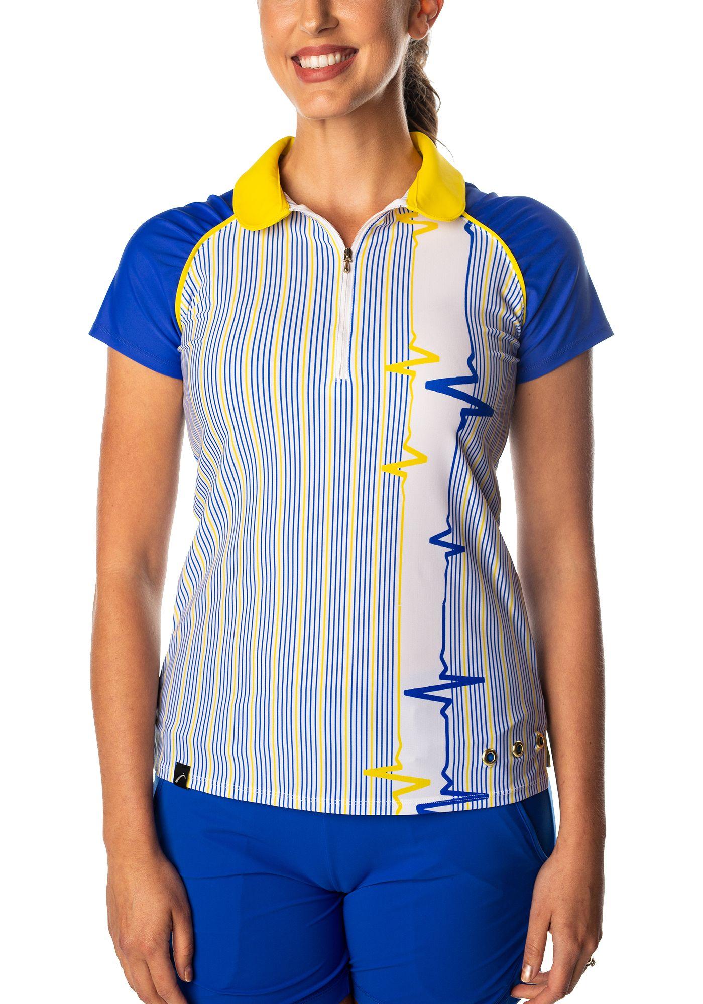 SwingDish Women's Grace Striped Short Sleeve Golf Polo