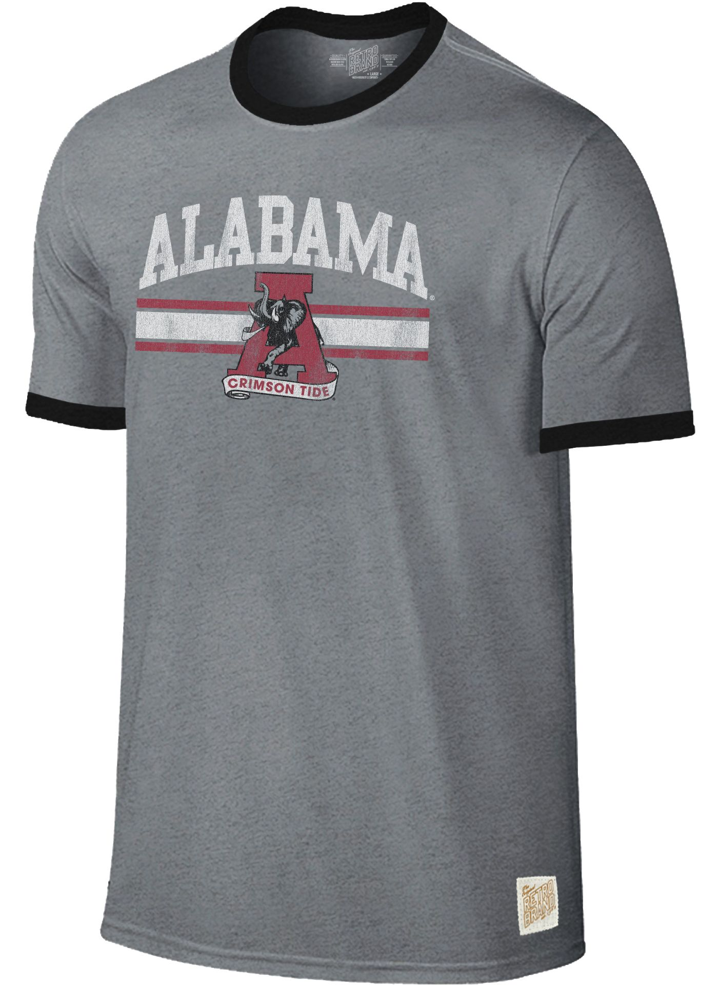 Original Retro Brand Men's Alabama Crimson Tide Grey Ringer T-Shirt