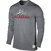 Original Retro Brand Men's Alabama Crimson Tide Grey Tri-Blend Long Sleeve T-Shirt